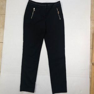 H&M Black pants with faux leather Trim